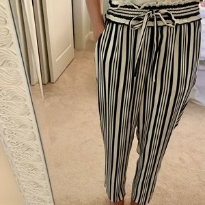 Navy blue and white stripped Zara pants